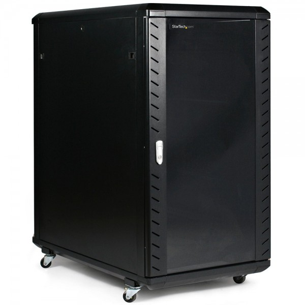 RACK CABINET DE PODEA 24U D:600x600x1256MM 80KG NEGRU USA STICLA NEASAMBLAT