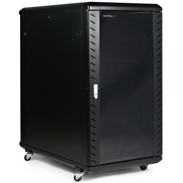 RACK CABINET DE PODEA 18U D:600x800x988MM 80KG NEGRU USA STICLA NEASAMBLAT