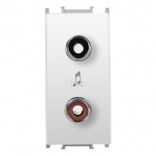 Priză audio modular, alb, 1Modul