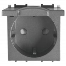 Priză modulară Schuko cu capac, fumuriu, 2M