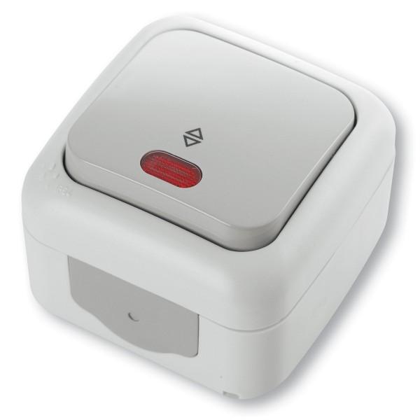 INTRERUPATOR CAP SCARA CU LED PT 10A 250V IP54 GRI
