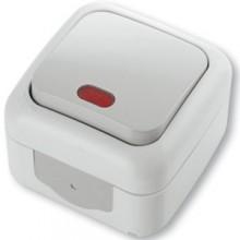 INTRERUPATOR SIMPLU CU LED PT 10A 250V IP54 GRI
