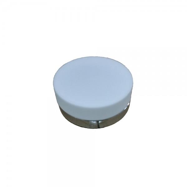 PLAFONIERA ROTUNDA STICLA 2xE27 DISP ALB MAT RAMA METAL SATINAT FI:23.5CM IP20 MODEL 135